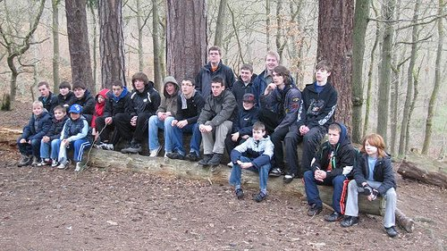 Sitting on the log on the way to Bewdley at Easter Camp 2012