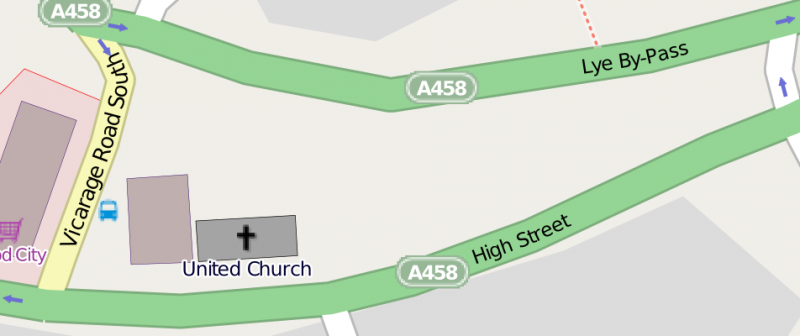 Map showing the location of the United Church in Lye