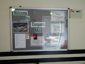 Cooper's Mill noticeboard as of Easter Camp 2012