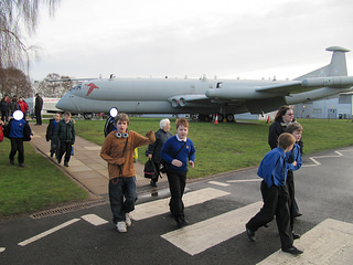The Boys looking at outside aircraft of RAF Museum Cosford